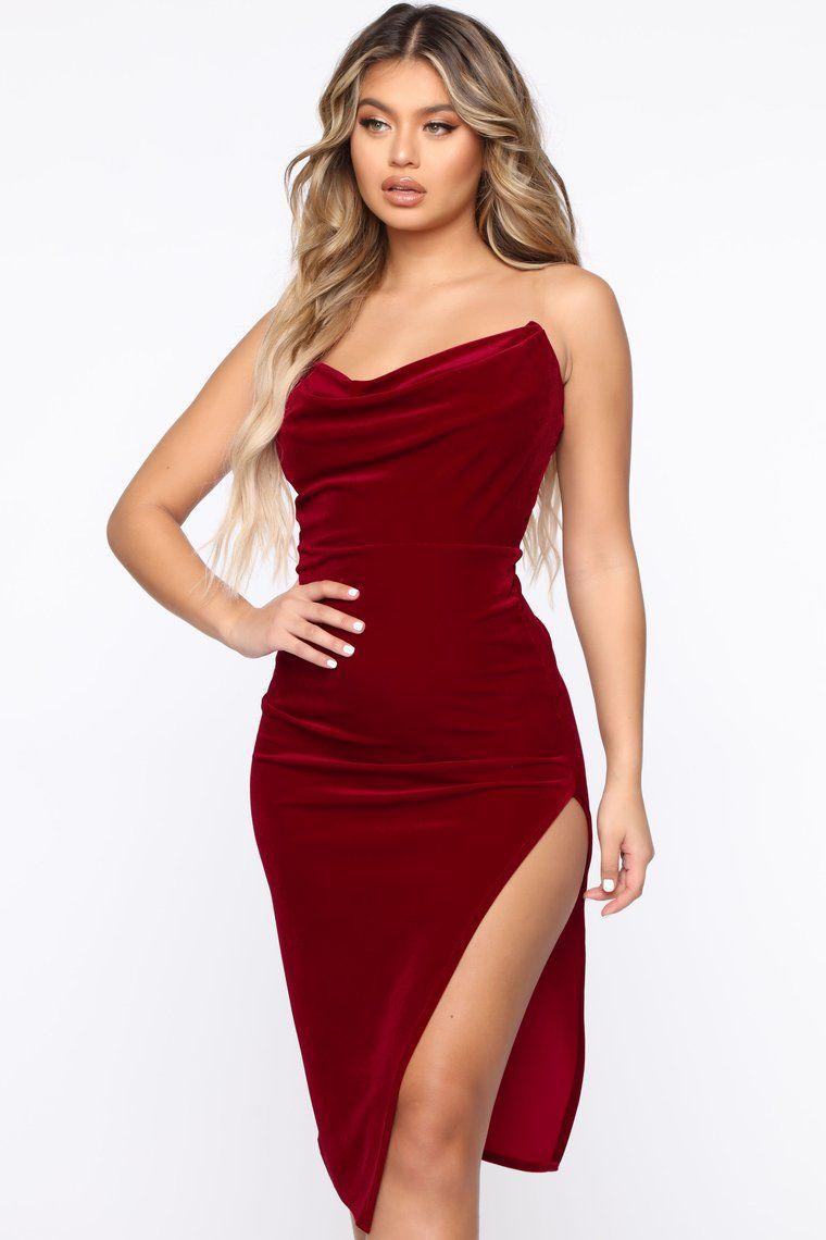 Meet Me In The Midi Velvet Dress Ruby Red in 2020