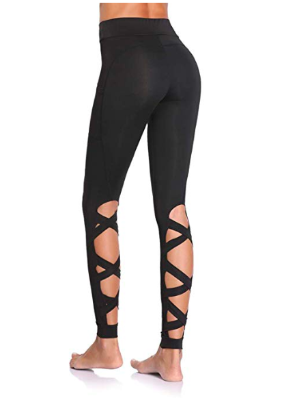ca7f05cf1c Cutout Leggings with Pockets for Women. Strappy Yoga Pants, High Waist Workout  Running Tights, Gym Trousers, gym style, #ad