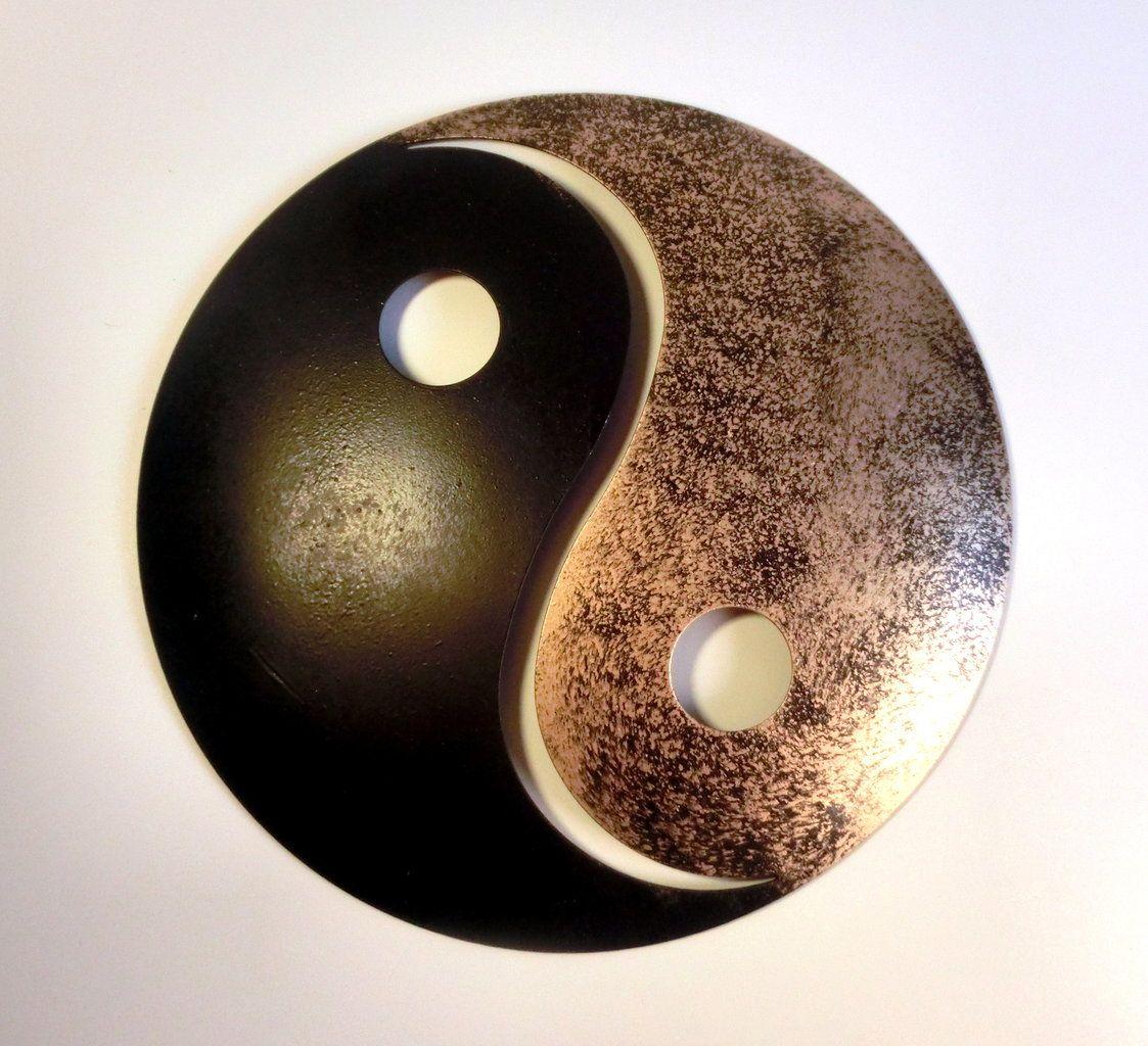Wanddekoration Aussen yin und yang gold schwarz pulverbeschichtetes metall
