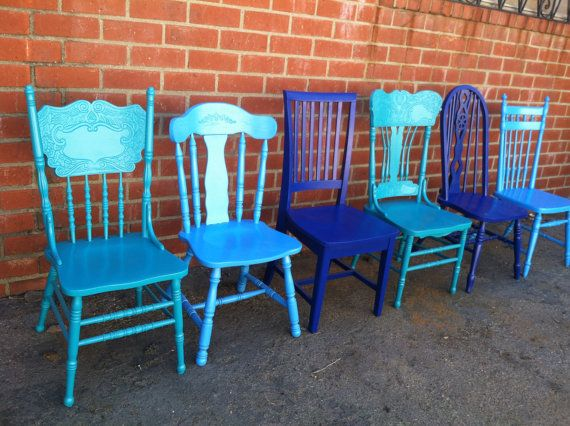 Coastal blues blue dining chairs vintage