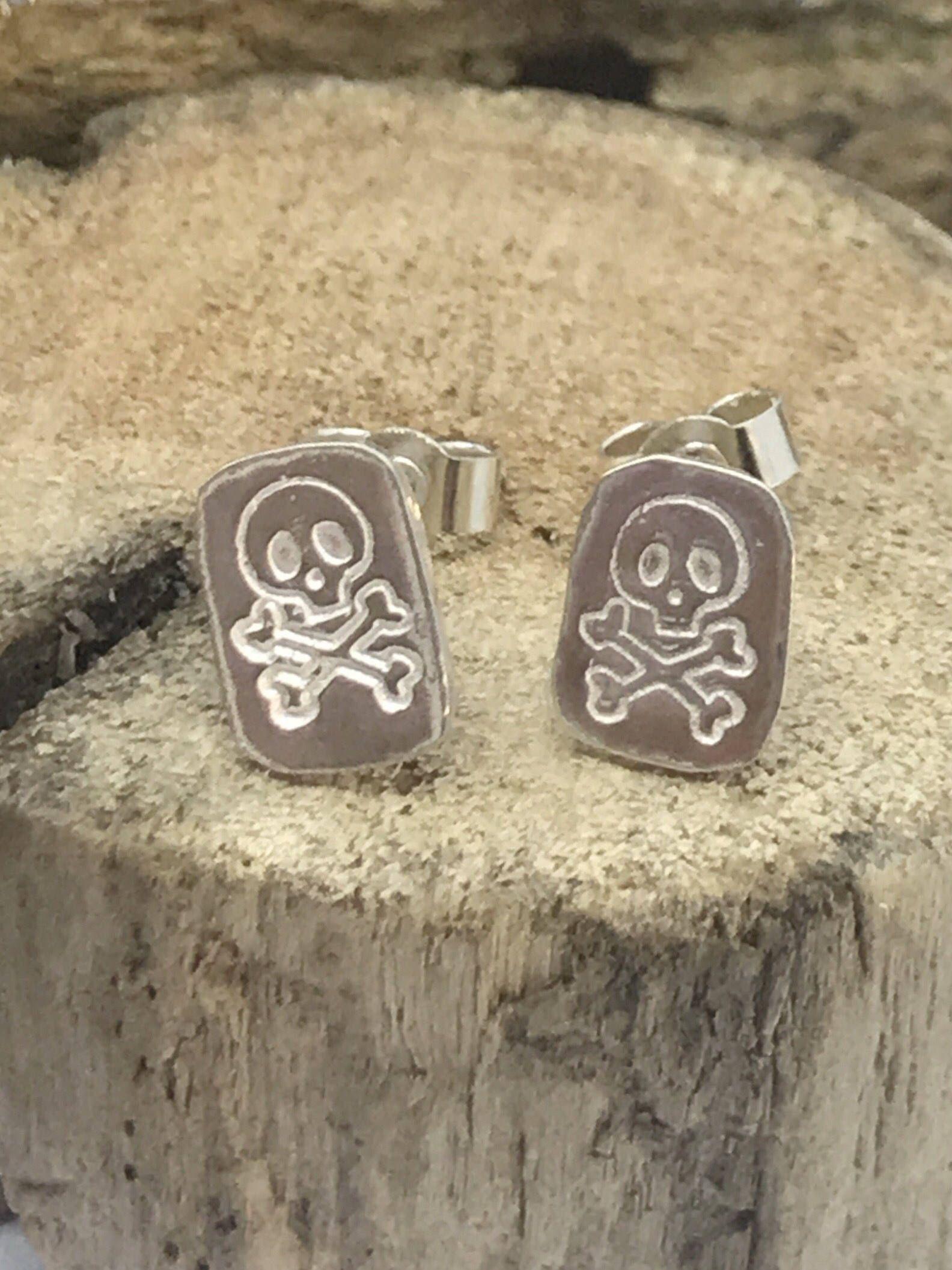 Skull And Crossbones Earrings 925 Sterling Silver Jewellery Handmade Stud