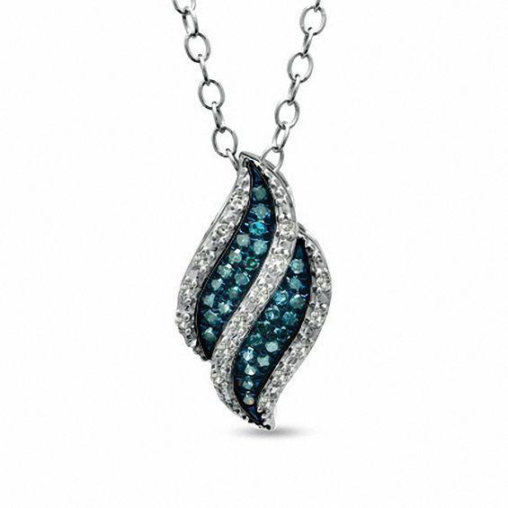 Zales 1/10 CT. T.w. Enhanced Blue and White Diamond Flame Pendant in 10K White Gold TMjxJwjzGZ