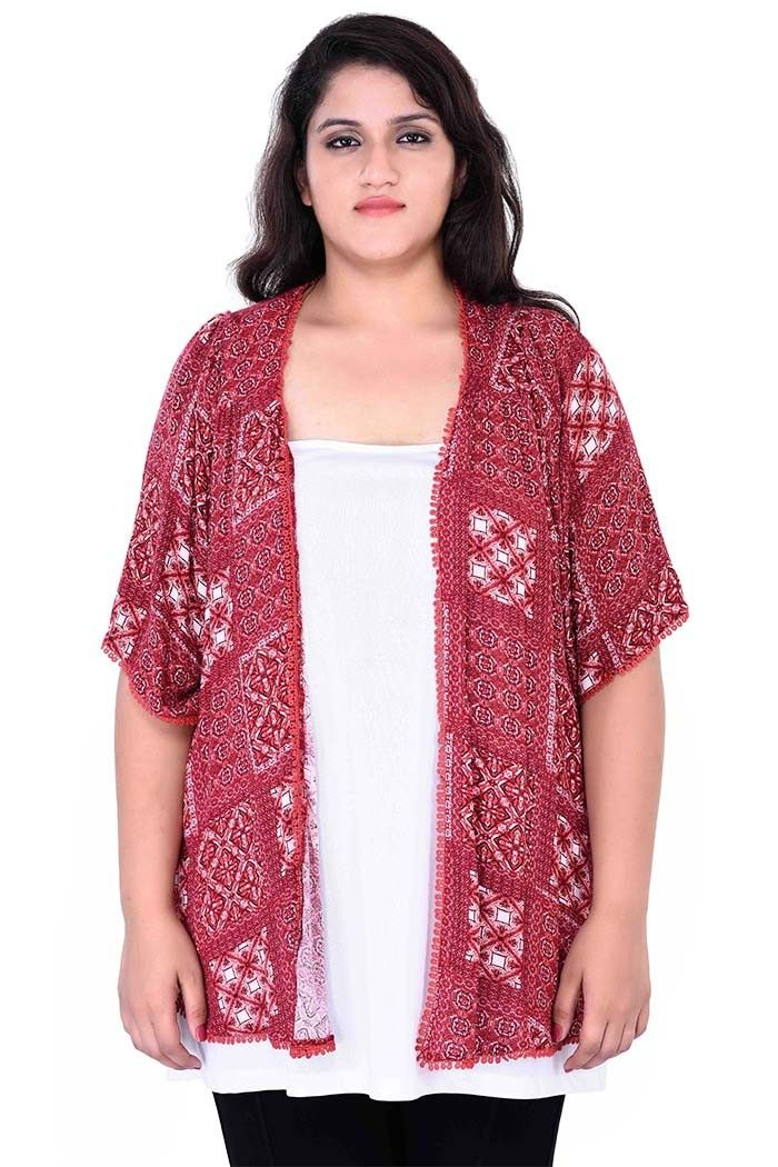 1ef04924553 Get plus size red shrug with floral motifs and pom pom details on border at  60