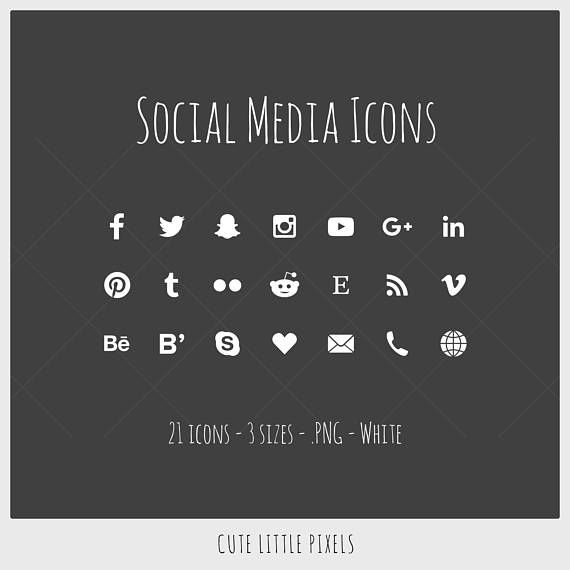 Social Media Icons - 21 icons in 5 sizes, white, PNG files