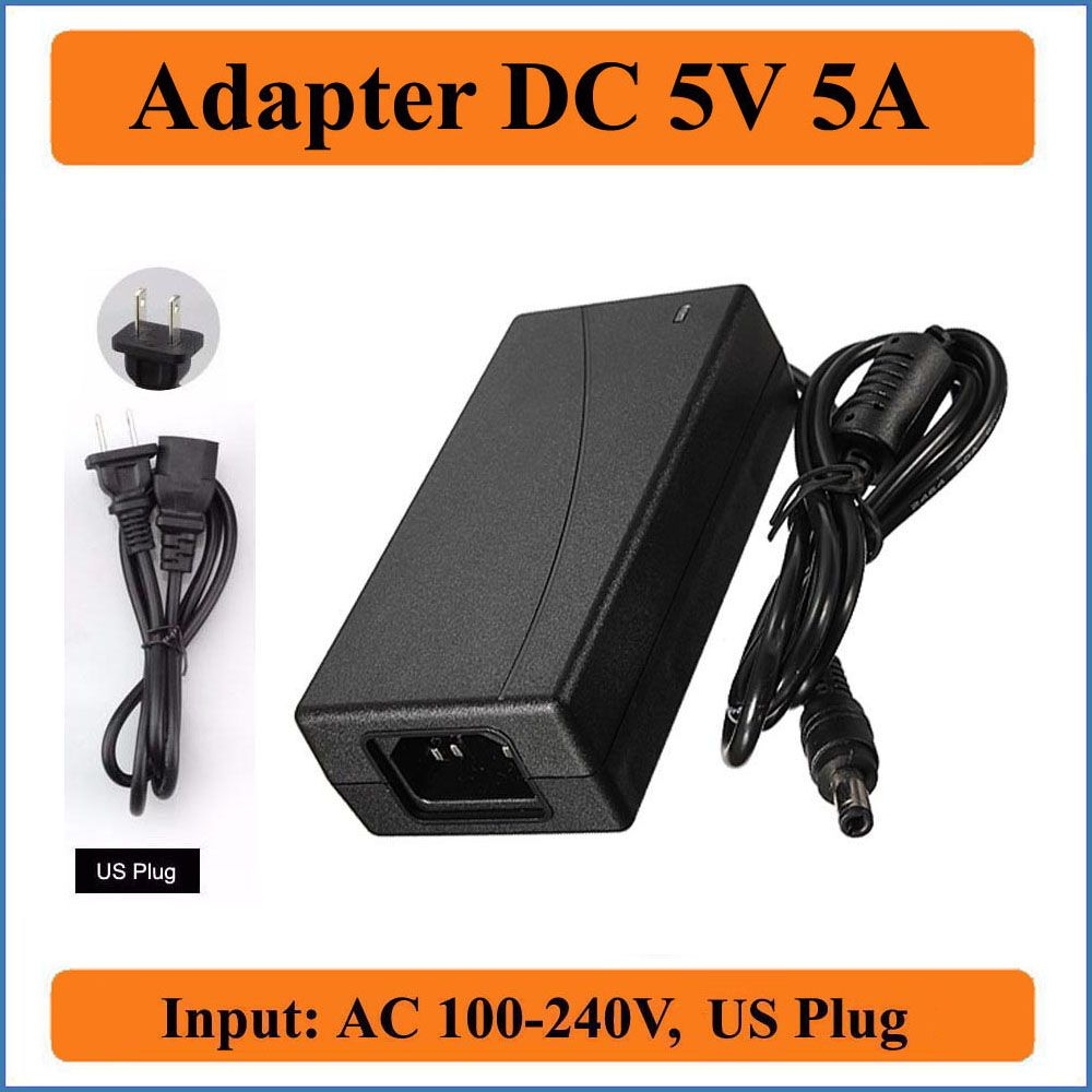5v 5a Us Plug Ac Dc Adapter Ac 100v 240v Input Converter Adapter To Dc 5v 5a 25w Power Supply Charger 5 5mm X 2 1 2 5mm Lcd Monitor Adapter Plugs