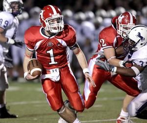 Sean Mayo of the Holliston High School football team, getting revenge on Medway for an earlier season loss.