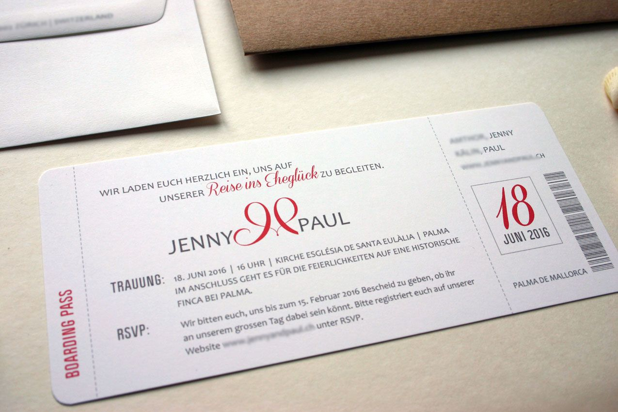 pocketfold einladungskarte aus kraftpapier mit boardingpass pocketfold wedding invitation craftpaper and boardingpas