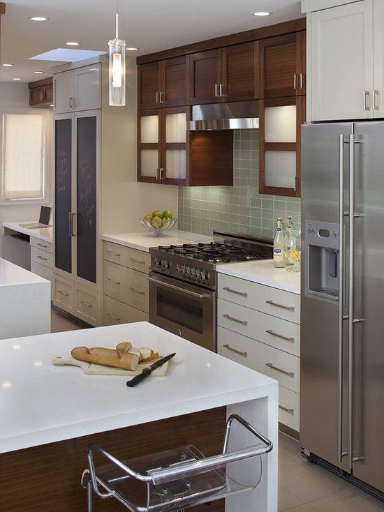 Range And Refrigerator On One Wall Design Pictures Remodel Decor And Ideas Page 12 Contemporary Kitchen Kitchen Trends Kitchen Design #refrigerator #in #living #room
