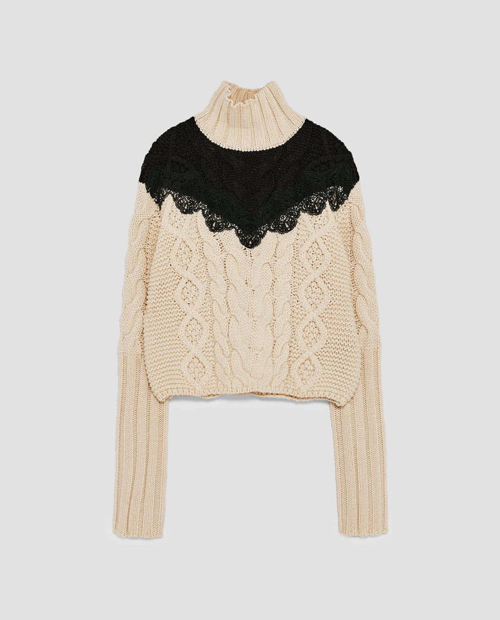 2820183bf2ceb7 Image 8 of CABLE-KNIT SWEATER WITH LACE NECKLINE from Zara