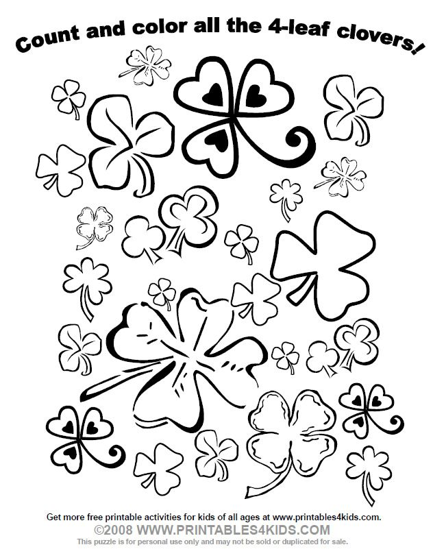 Count And Color All The Four Leaf Clovers For St Patrick S Day