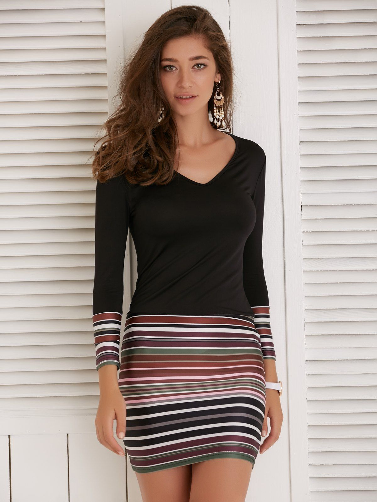 Colorful striped long sleeve vneck dress black m in bodycon