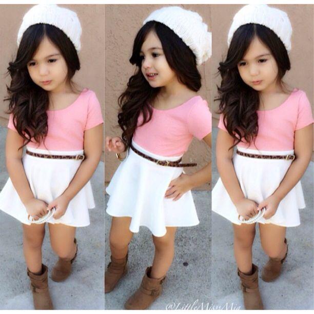 New 2PCS Baby Kids Girls Summer Short Sleeve T-Shirt Belt Dress ...