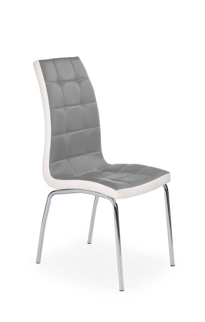 Chaise de salle à manger design en PU gris blanc (lot de 4) Amethys - salle a manger design moderne
