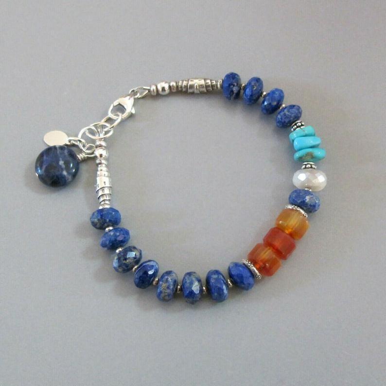 double strand. Lapis lazuli gemstone bracelet