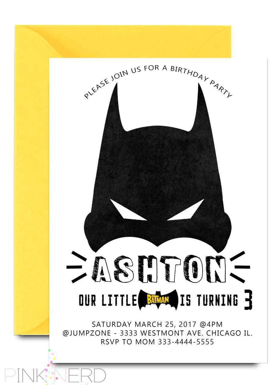 Batman Birthday invitation, batman mask boy birthday invitation ...