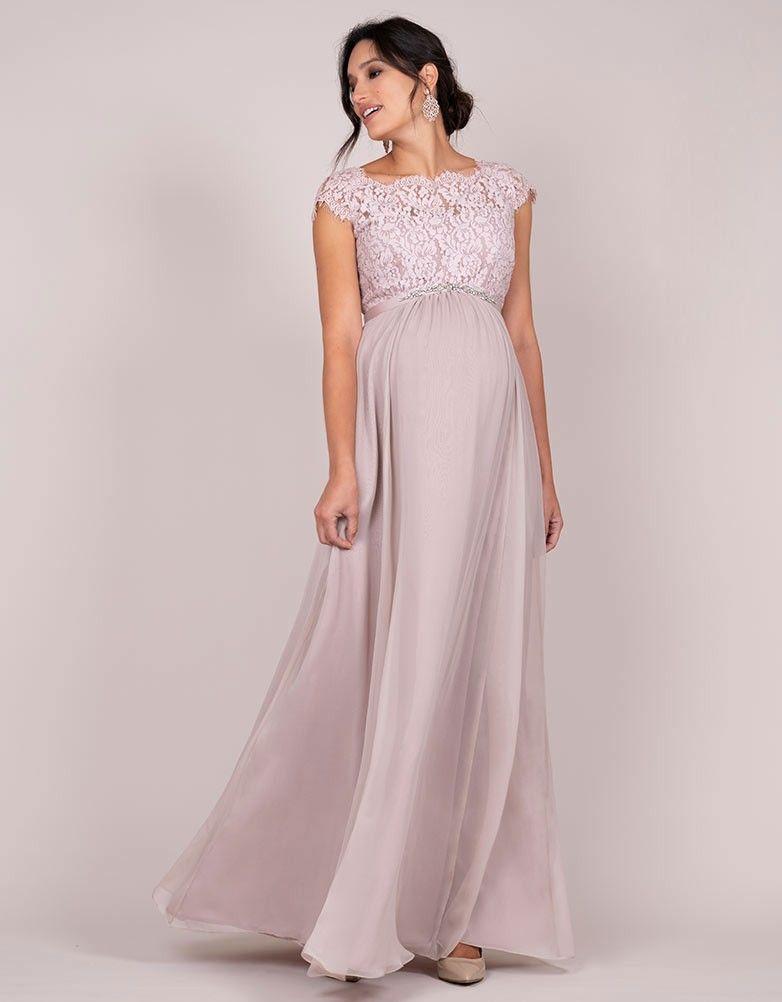 tan baratas el más baratas mejor precio Vestido premamá largo con seda y encaje - Rosa claro ...