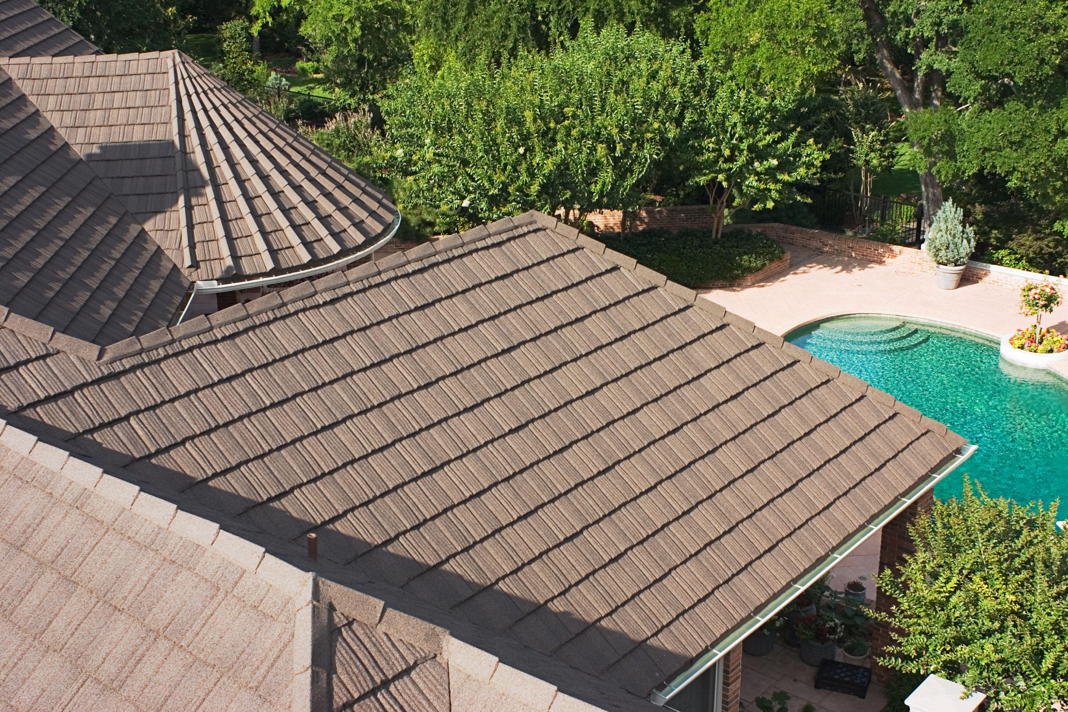 Gerard Stone Coated Steel Metal Roofing Timberwood Canyon Shake Residential Metal Roofing Metal Roof Roof Styles