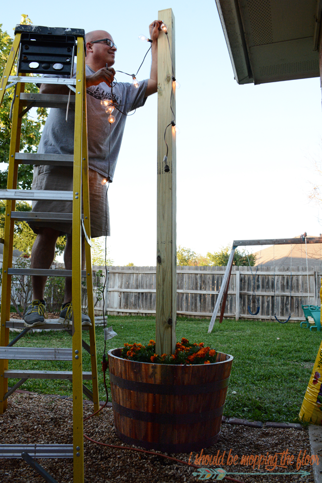 Diy Sturdy Planted Posts Planters String Lights And Plants