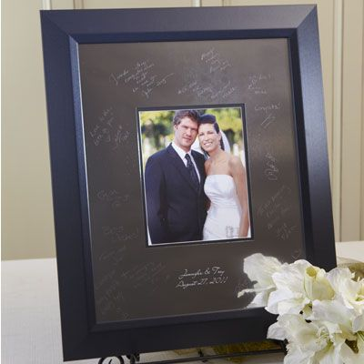 Wedding Guest Book Signature Frame By I Do Engravables Silver Mat Board Signed Wedding Reception Guest Book Wedding Guest Book Wedding Reception Accessories