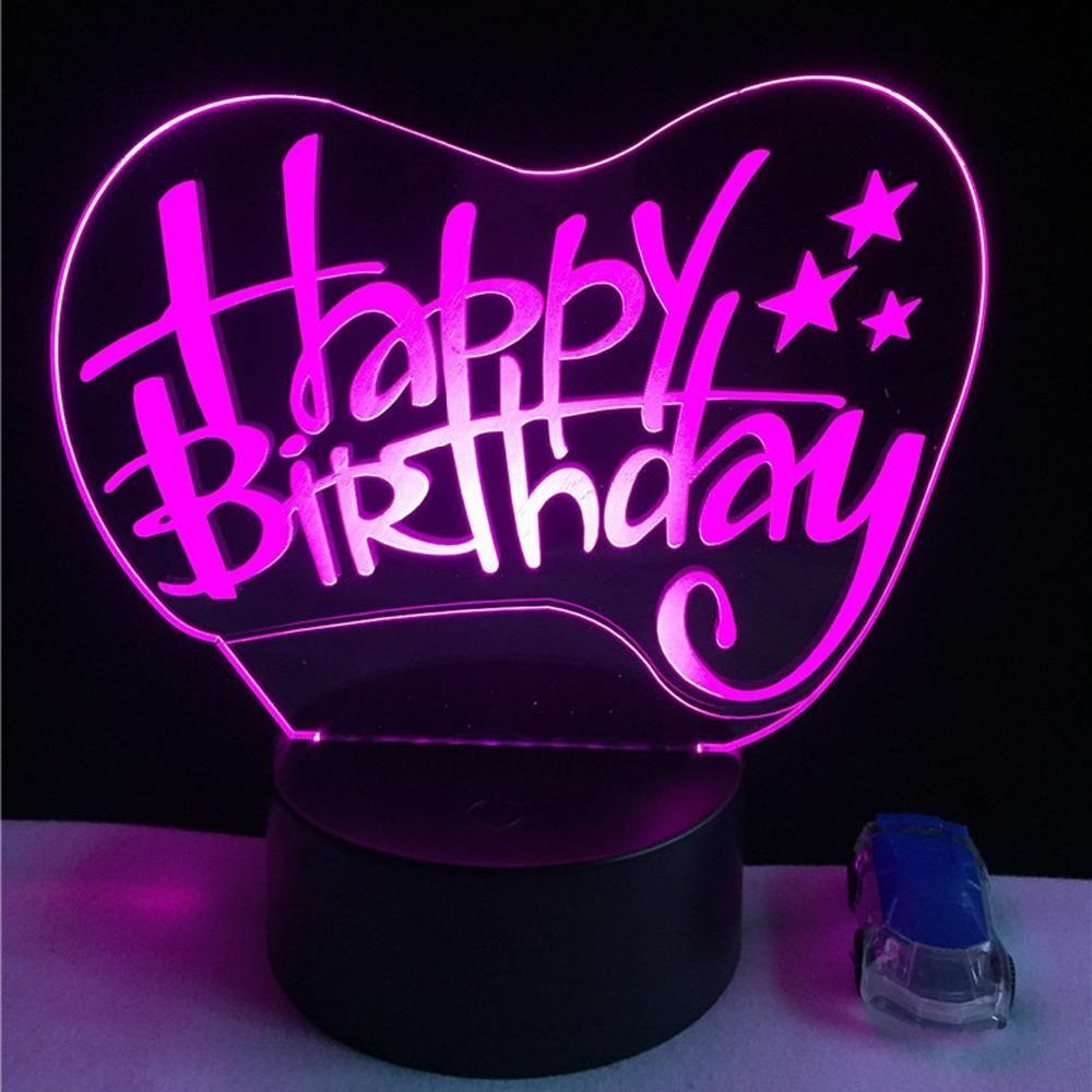 te Birthday sign extraño Happy LED de 3D LampFrases c3A5q4jLR
