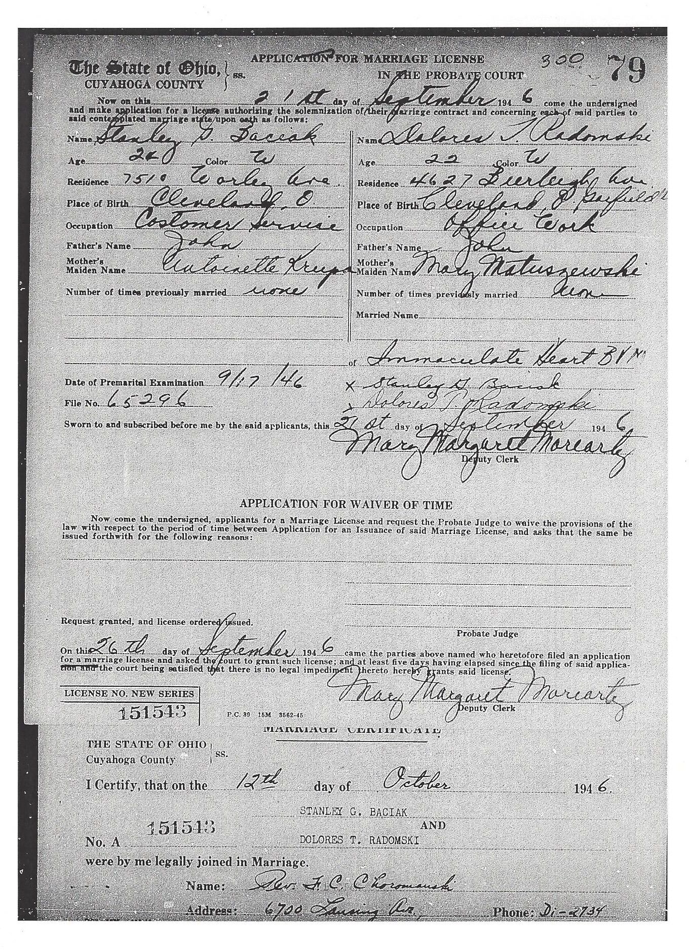Stanley George Baciak And Dolores T Radomski Marriage Certificate