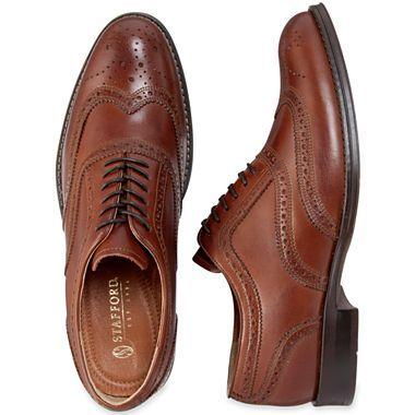 55152b219648f Stafford Ashton Mens Wingtip Dress Shoes Brown