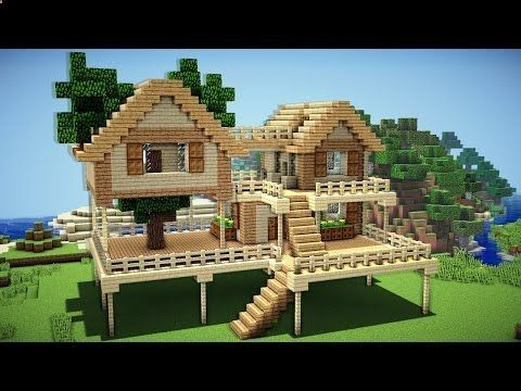 Minecraft starter house tutorial how to build  in easy youtube also rh sk pinterest