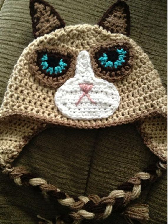 Grumpy Cat Hat Pattern Cats Häkeln Mütze Häkeln Und Stricken