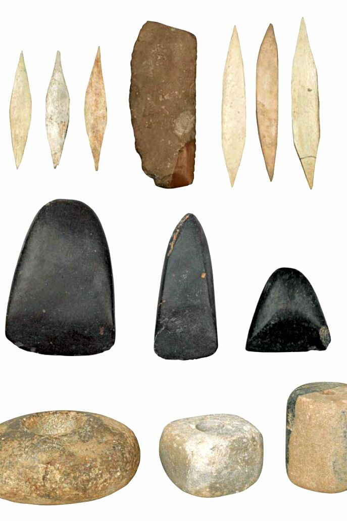 Pin on stone tools