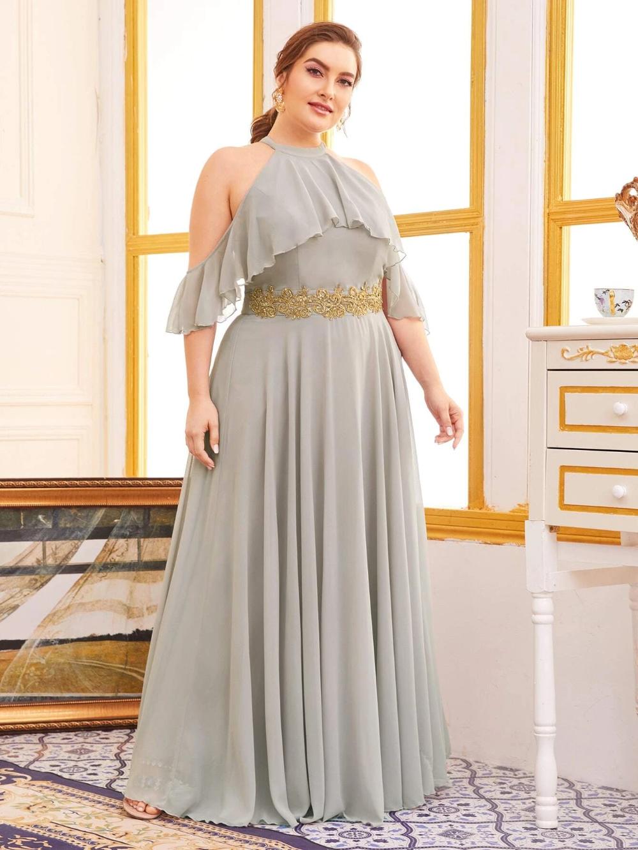 Plus Halter Cold Shoulder Appliques Maxi Prom Dress Shein Usa Maxi Dress Prom Prom Dresses Dresses [ 1332 x 1000 Pixel ]