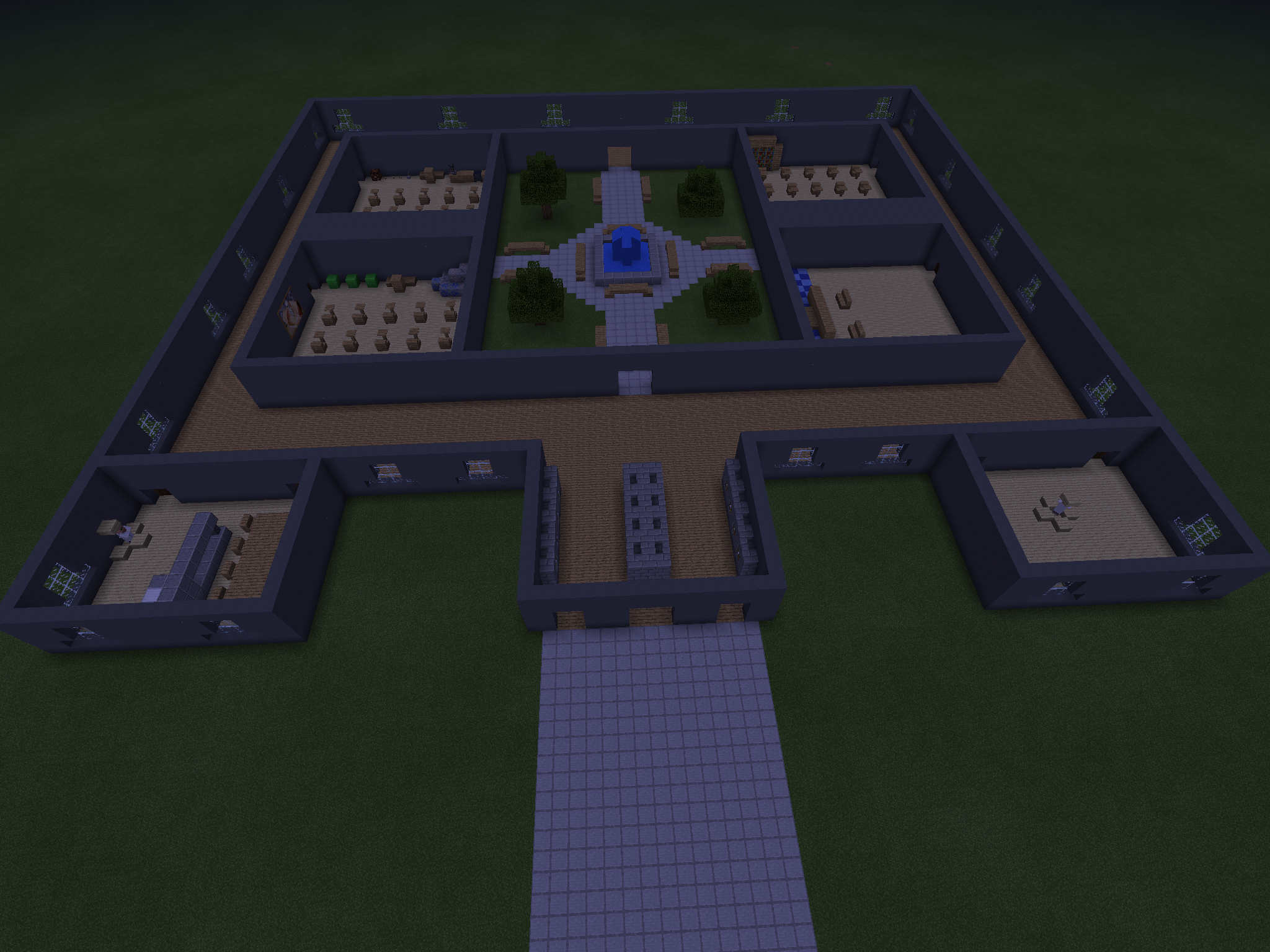 My Minecraft Yandere Simulator School No Roof Yet Things Look A Bit Different Than In The Game Because I Decided Minecraft Yandere Yandere Simulator Yandere
