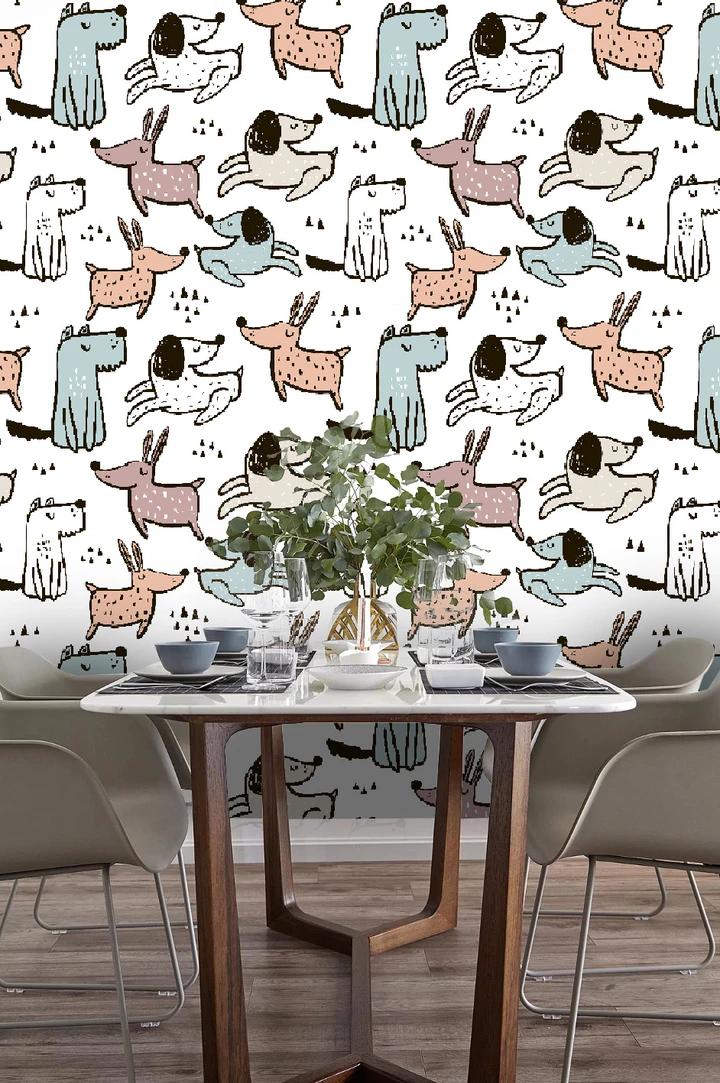 3d Cartoon Animals Dogs Wall Mural Wallpaper 09 Jessartdecoration In 2020 Cartoon Animals Mural Wallpaper