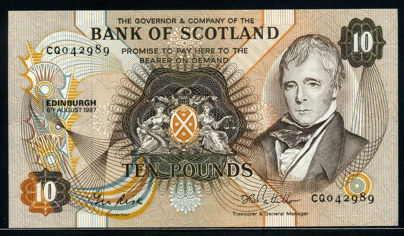 Scotland Money Bank Of Scotland Currency 10 Pounds Paper Currency Bank Notes Banknote Collection