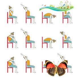 sun salutation variation sitting on chair yoga surya