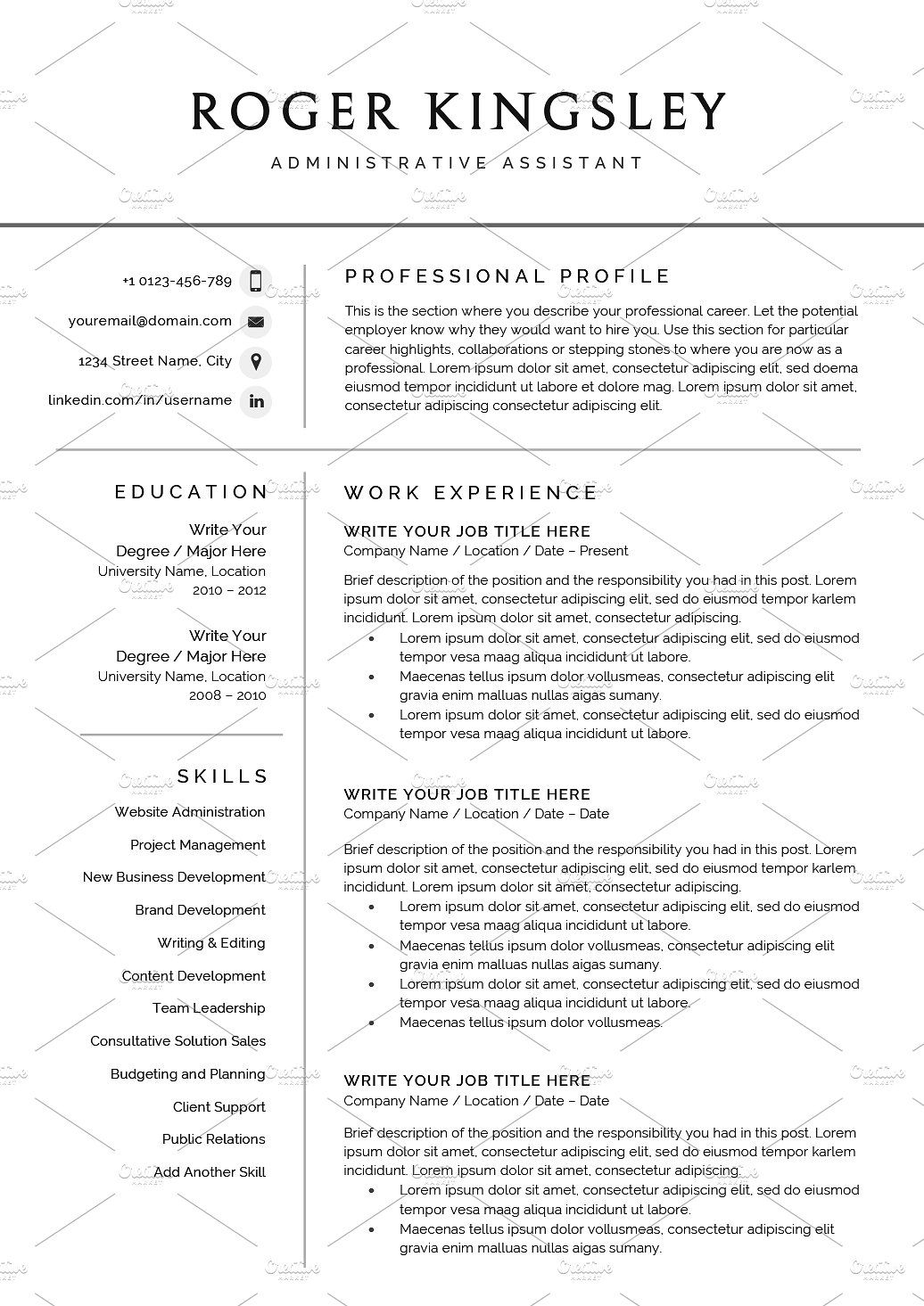 Resume/CV The Roger (With images) Resume cv, Word 2007