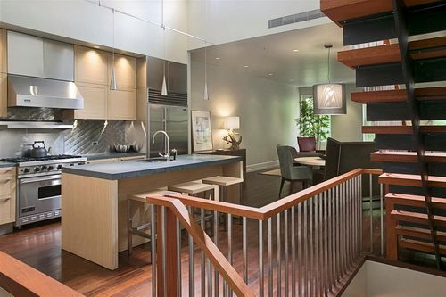 Near stairs kitchen craft cabinets kitchen cabinets for Kitchen design near 08831