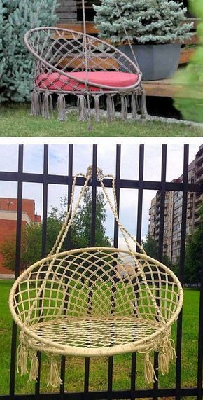 Iz Shnura I Trub Mozhno Sdelat Poleznuyu Veshicu Dlya Sada Diy Garden Furniture Diy Hammock Chair Macrame Wall Hanging Diy