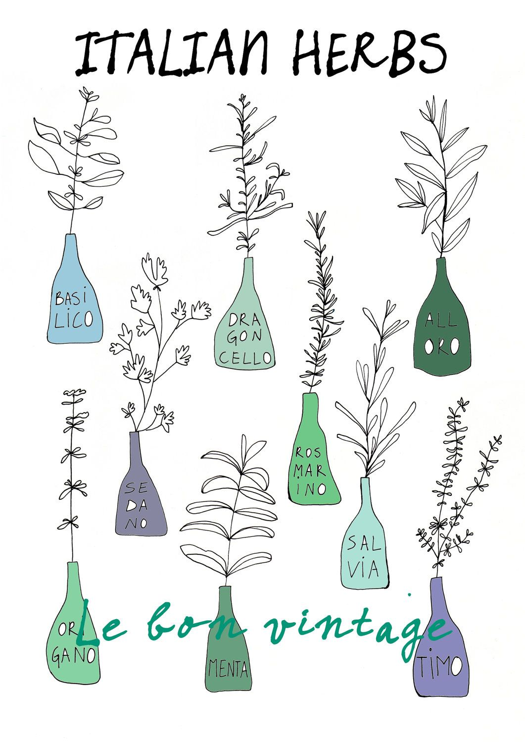 Italian kitchen herbs food print free shipping by lebonvintage
