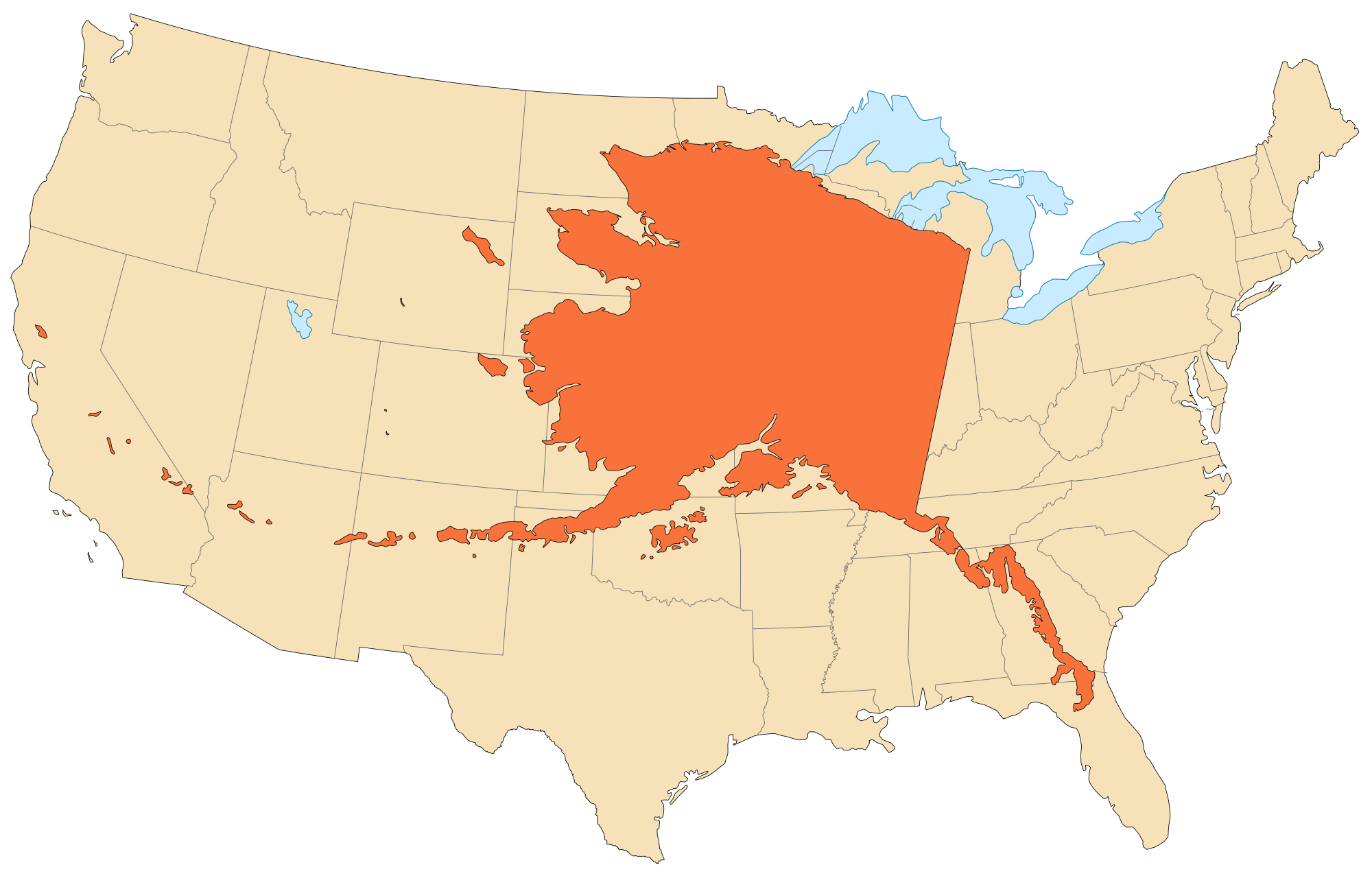 Alaskas Size Compared With The Contiguous States Albers - Us 48 states map