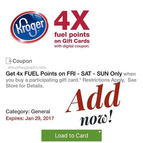 Get 4 x Fuel Points wyb Gift Cards > Kroger (Download now