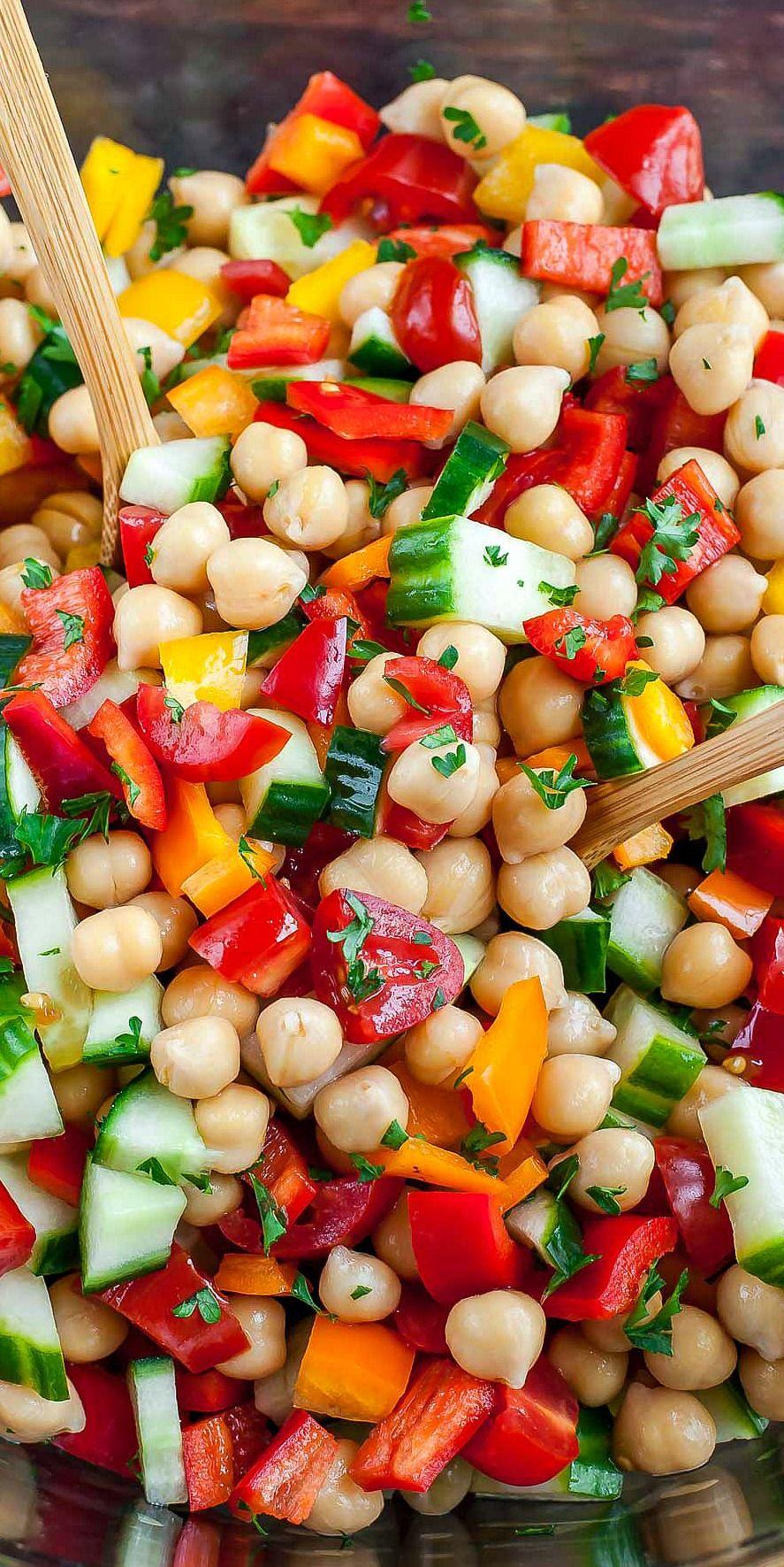 Greek Chickpea Salad Recipe Vegetarian And Gluten Free Recipe In 2020 Greek Chickpea Salad Greek Chickpeas Vegetarian Salad Recipes