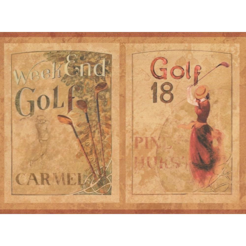 """York Wallcoverings """"Vintage Golf Ads Beige Brown Prepasted"""