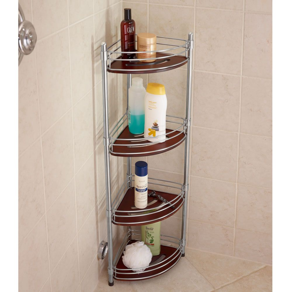 The Teak And Stainless Steel Shower Organizer Hammacher Schlemmer With Images Shower Organization Bathroom Shower Organization Bathroom Organisation