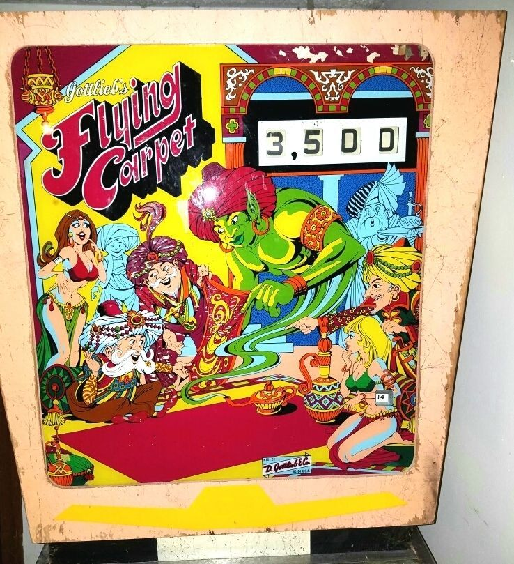 Gottlieb Flying Carpet Pinball Backglass 1972 Pinball Art Flying Carpet Pinball