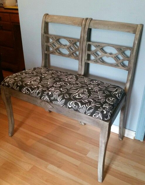 Brilliant 2 Chairs Made Into This Bench Barn Board Finish A Memory Evergreenethics Interior Chair Design Evergreenethicsorg
