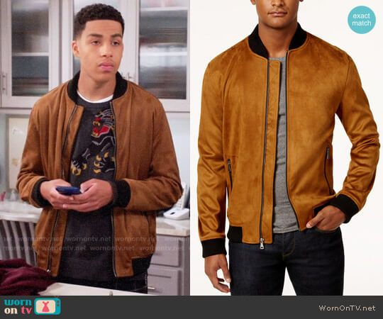6efea74a67 Junior s suede bomber jacket on Black-ish. Outfit Details  https