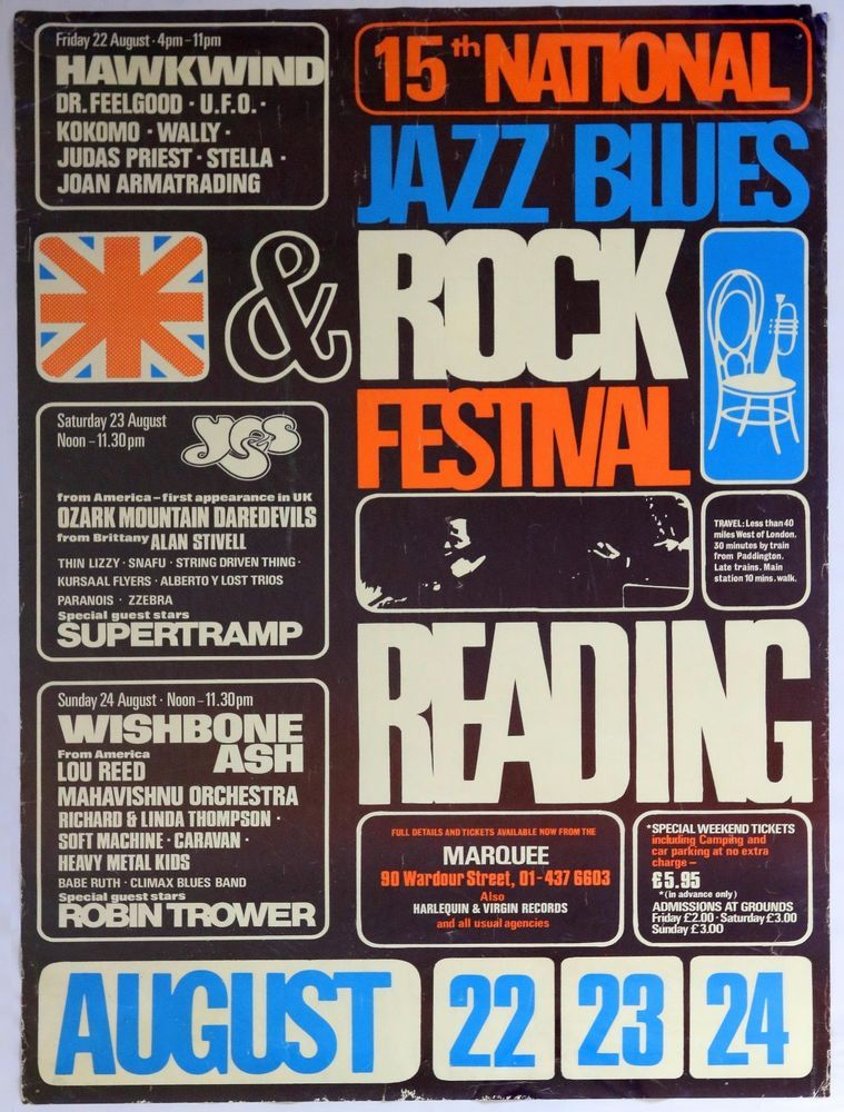 Reading Festival Poster 1975 Hawkwind, Yes, Supertramp, Thin