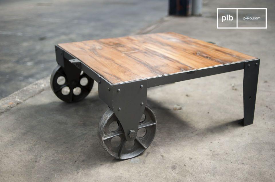 Table Basse Vintage Railway Roues En Fonte Ruedas Para Muebles Madera Y Metal Madera Y Acero