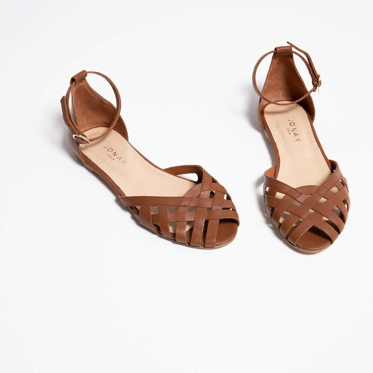 Sandales à talon plat Femme en croute laminée argent | Jonak