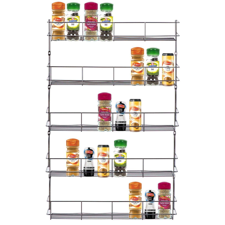 Küchenschränke für teller amazon vonshef  tier spice rack chrome plated easy fix for